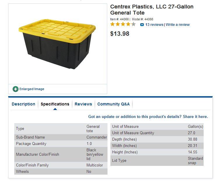 Centrex Plastics 27 Gallon Construction Grade Tote