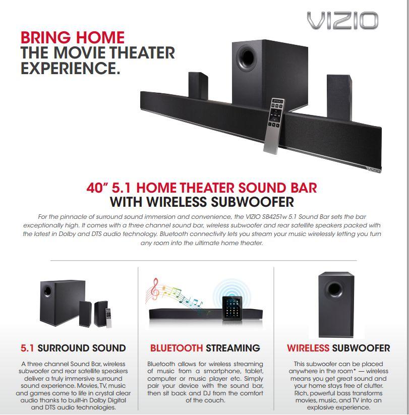 Vizio 5 1 Soundbar With Wireless Subwoofer Model S4251w B4