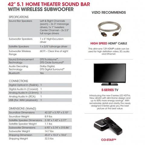 Vizio 5.1 Soundbar specs Costco
