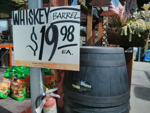 Whiskey Barrel planter at Home Depot