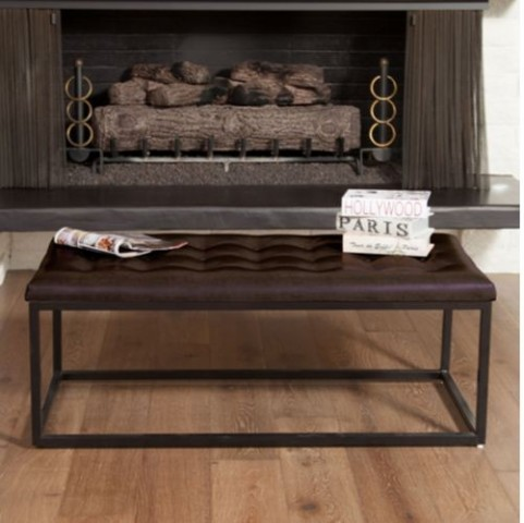 Dacono Bench in Brown Bonded Leather Costco