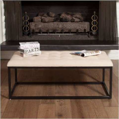 Dacono Bench in Neutral Linen Fabric Costco