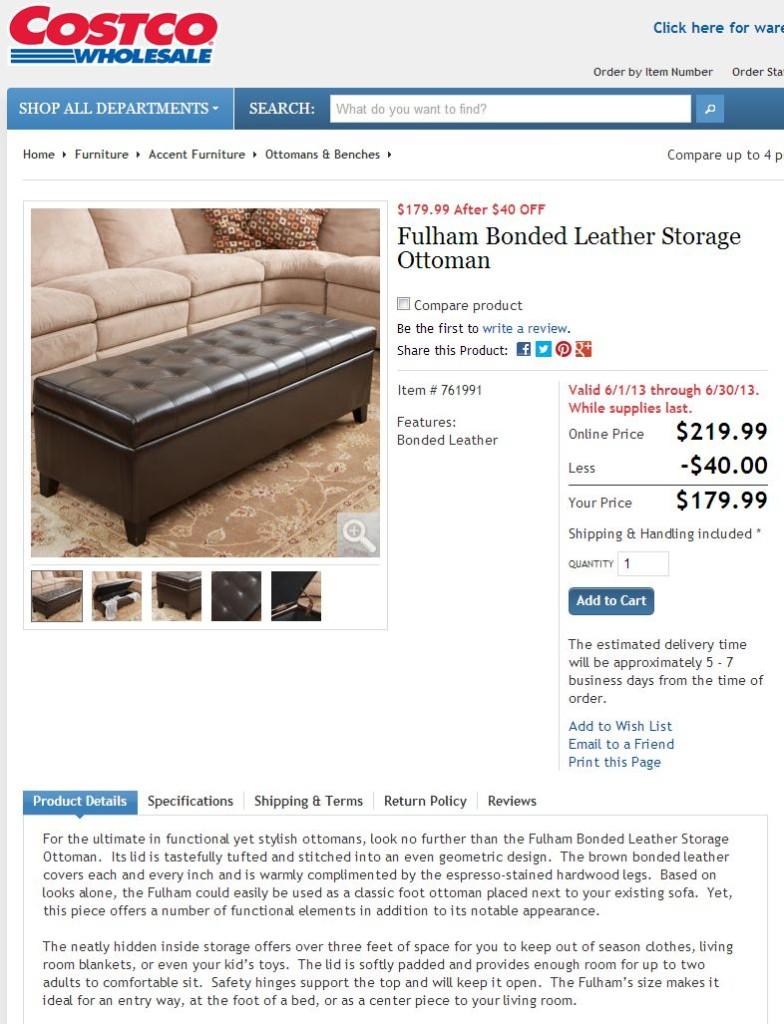 Fulham Bonded Leather Storage Ottoman