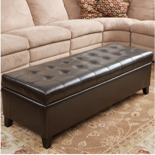 Fulham Leather Storage Ottoman Costco