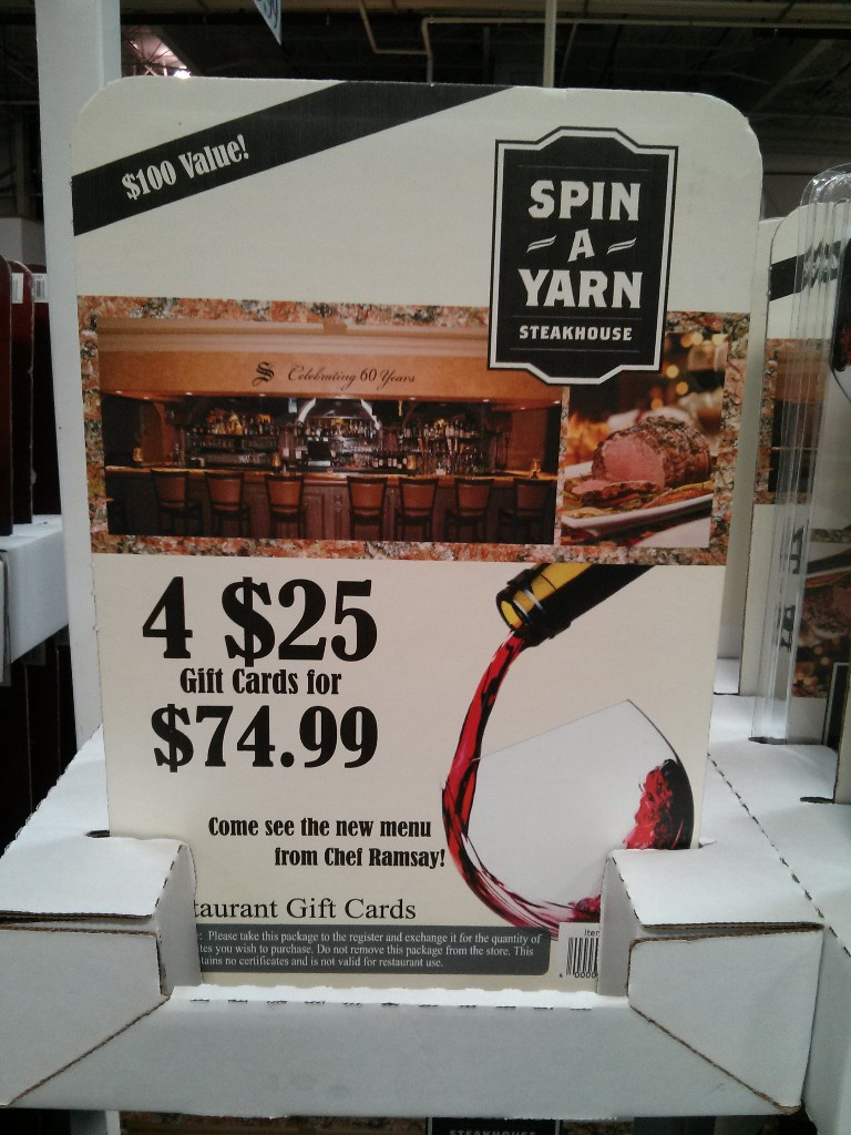 Gift Card Spin a Yarn Costco