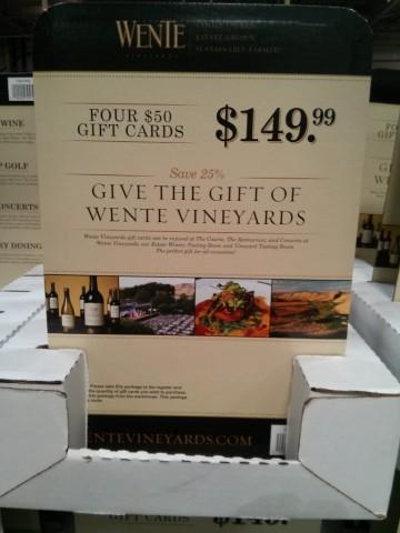 Gift Card Wente Vineyards Costco