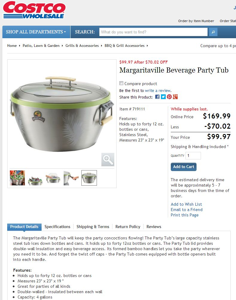 Margaritaville Beverage Party Tub Big Discount Available