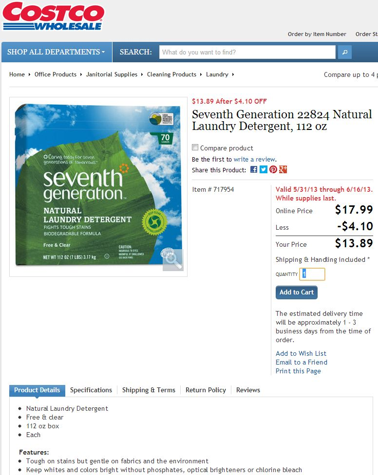 Seventh Generation Natural Laundry Detergent Costco