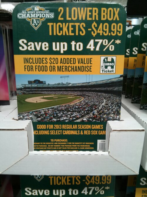 Oakland A's Discount Ticket Costco
