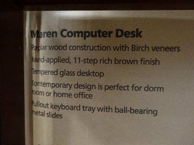 Bayside Furnishings Maren Computer Desk Costco