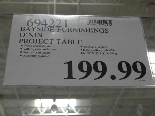 Bayside Furnishings Onin Project Table Costco