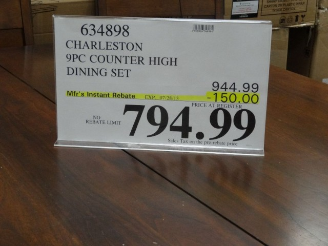 Charleston 9 Piece Counter Height Dining Set Discount Alert