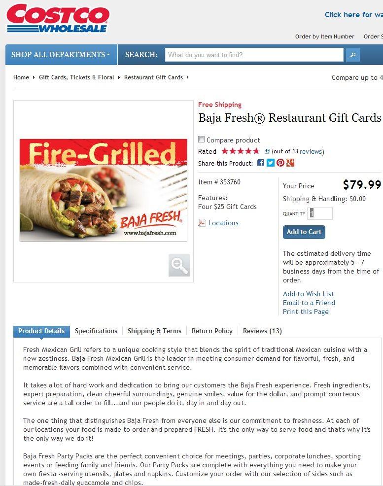 Baja Fresh Restaurant Discount Gift Card