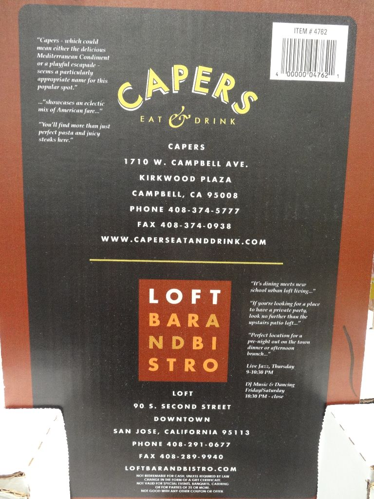 Capers and Loft Discount Gift Card