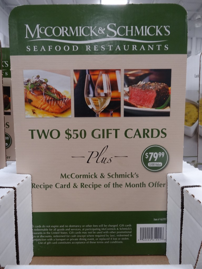 Gift Card McCormick and Schmicks Costco