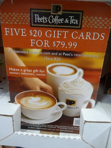 Gift Card Peets Coffee Discount Costco
