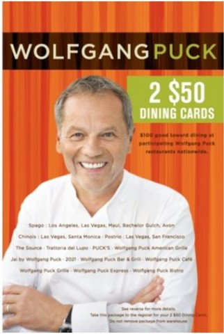 Gift Card Wolfgang Puck Costco