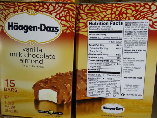 Haagen-Daz Vanilla Milk Chocolate Almond Ice-Cream Bars Costco