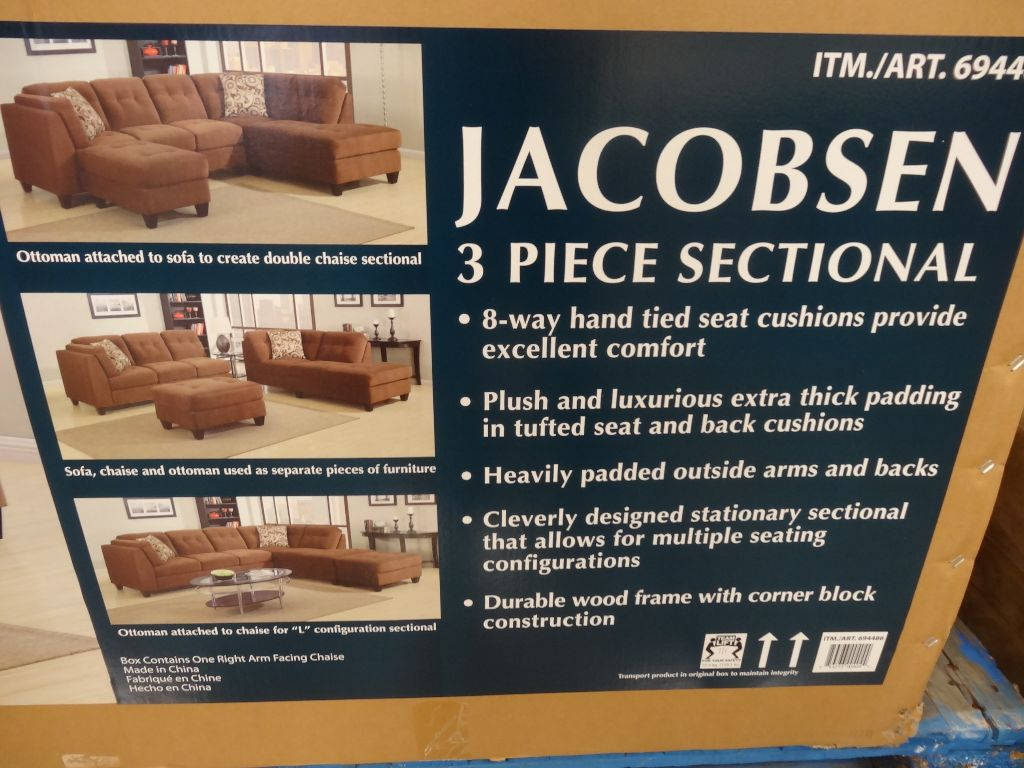 Jacobsen sofa costco home the honoroak for 3 piece sectional sofa costco
