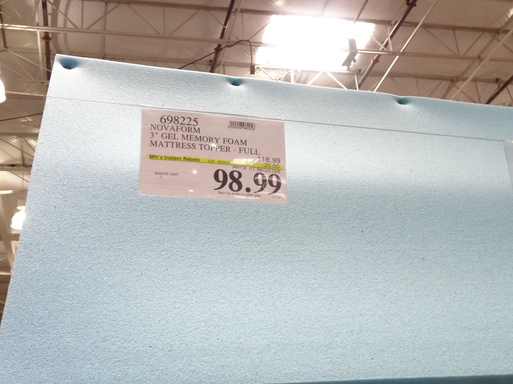 Novaform 3 Inch Gel Memory Foam Topper Costco