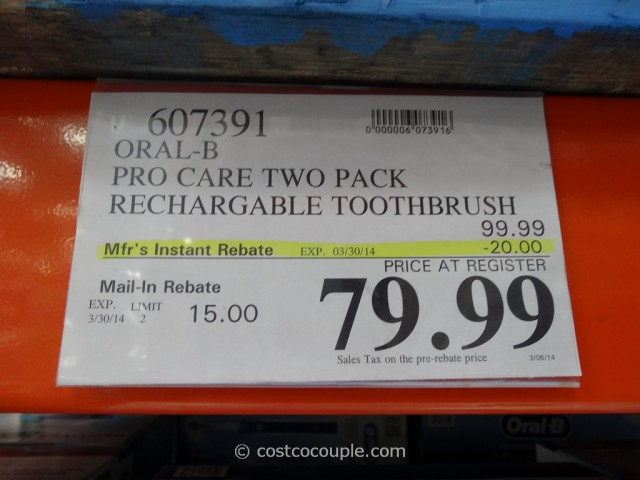 Oral-B Professional Care Advantage Rechargeable Toothbrush Costco 1