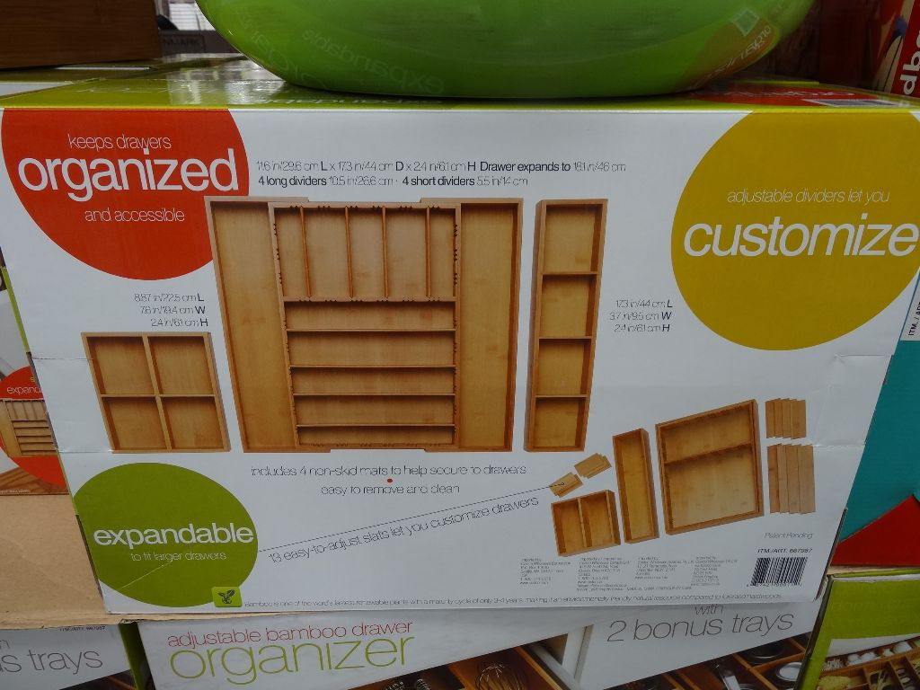 Pandex 3 Piece Bamboo Drawer Organizer