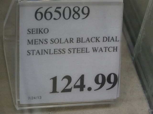 Seiko Solar Black Dial Watch Costco