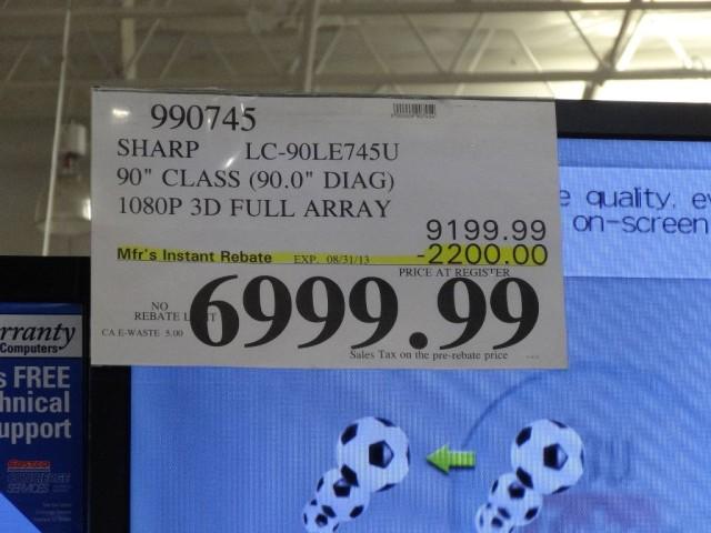 Sharp 90 Inch LC-90LE745U TV Costco