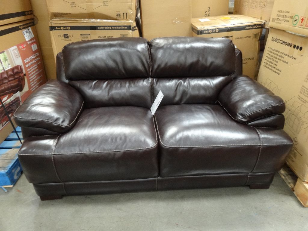 Simon Li Hunter Leather Loveseat Costco