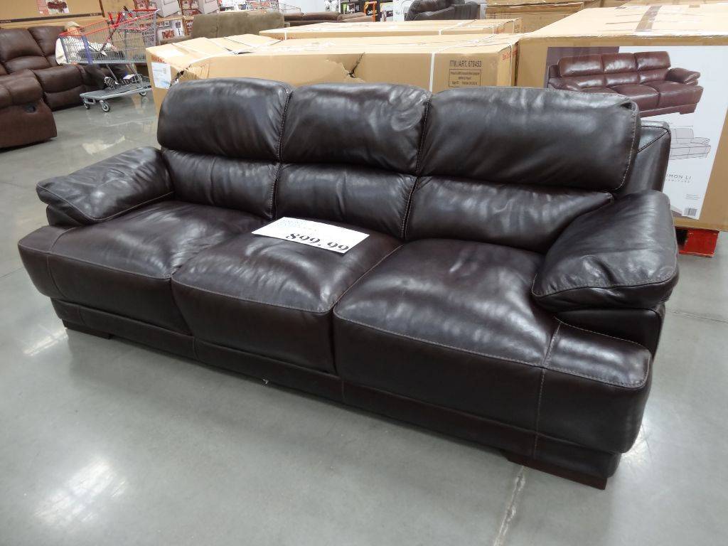 Attractive Simon Li Hunter Leather Sofa Costco