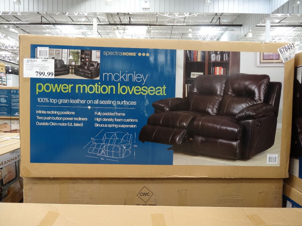 Spectra McKinley Leather Power Motion Loveseat Costco : costco electric recliner - islam-shia.org
