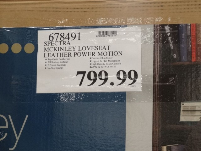 Spectra McKinley Leather Power Motion Loveseat Costco