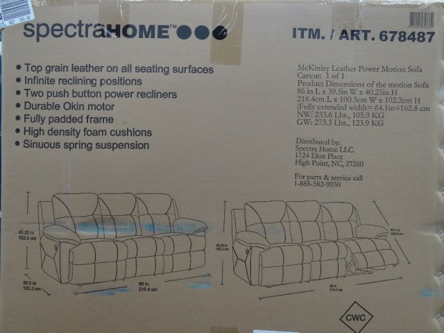 Spectra McKinley Leather Power Motion Sofa Costco