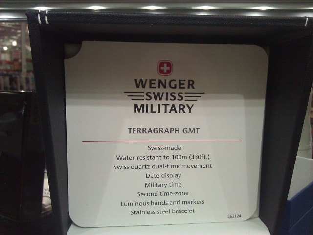Wenger Swiss Military Terragraph GMT Watch Costco