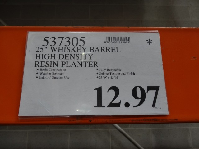 Whiskey Barrel Resin Planter Costco