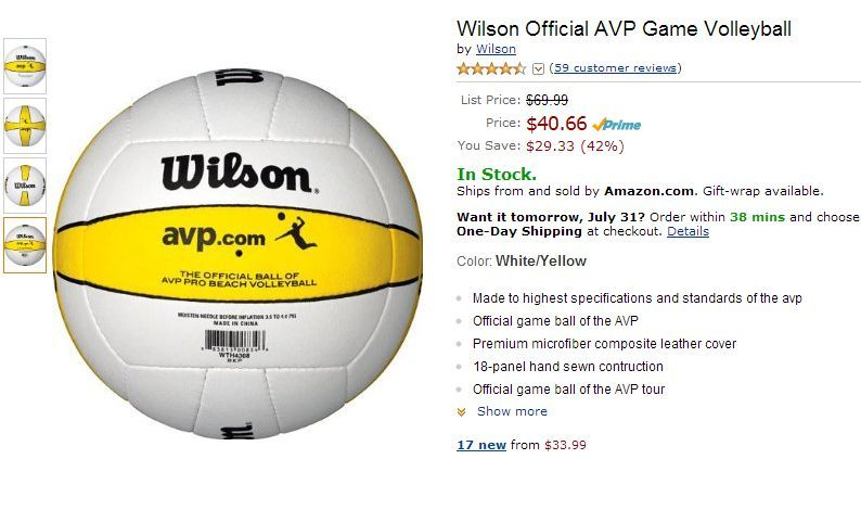 Wilson Official AVP Game Volleyball Amazon