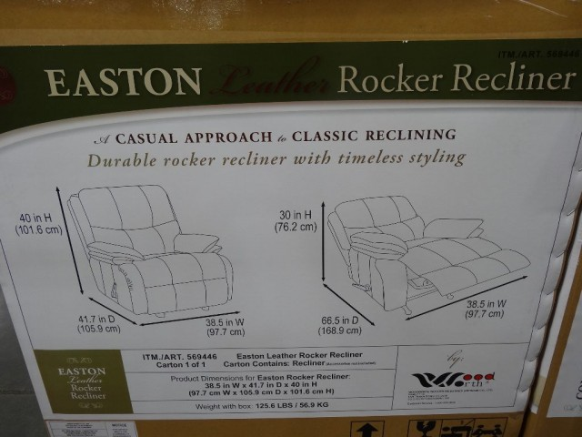 Woodworth Easton Leather Recliner Costco