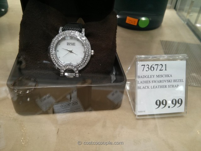 Badgley Mischka Women's Swarovski Crystal Black Leather Strap Watch Costco 4