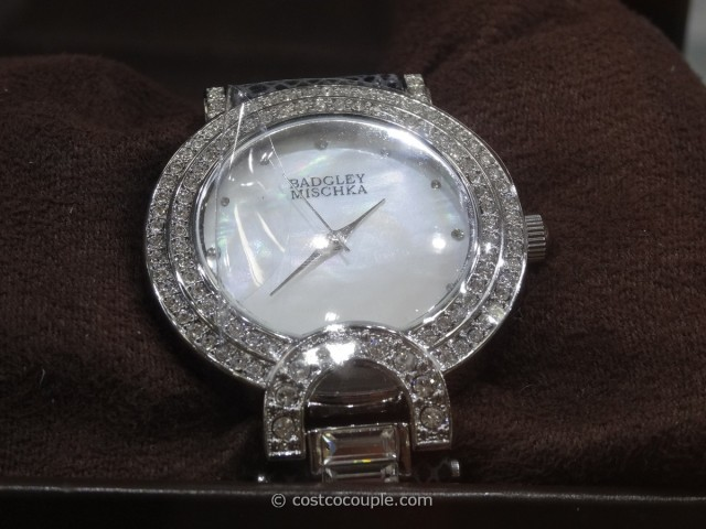 Badgley Mischka Women's Swarovski Crystal Black Leather Strap Watch Costco 5