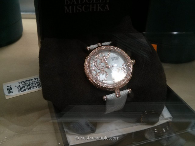 Badgley Mischka Women's Swarovski Crystal White Leather Strap Watch Costco 3