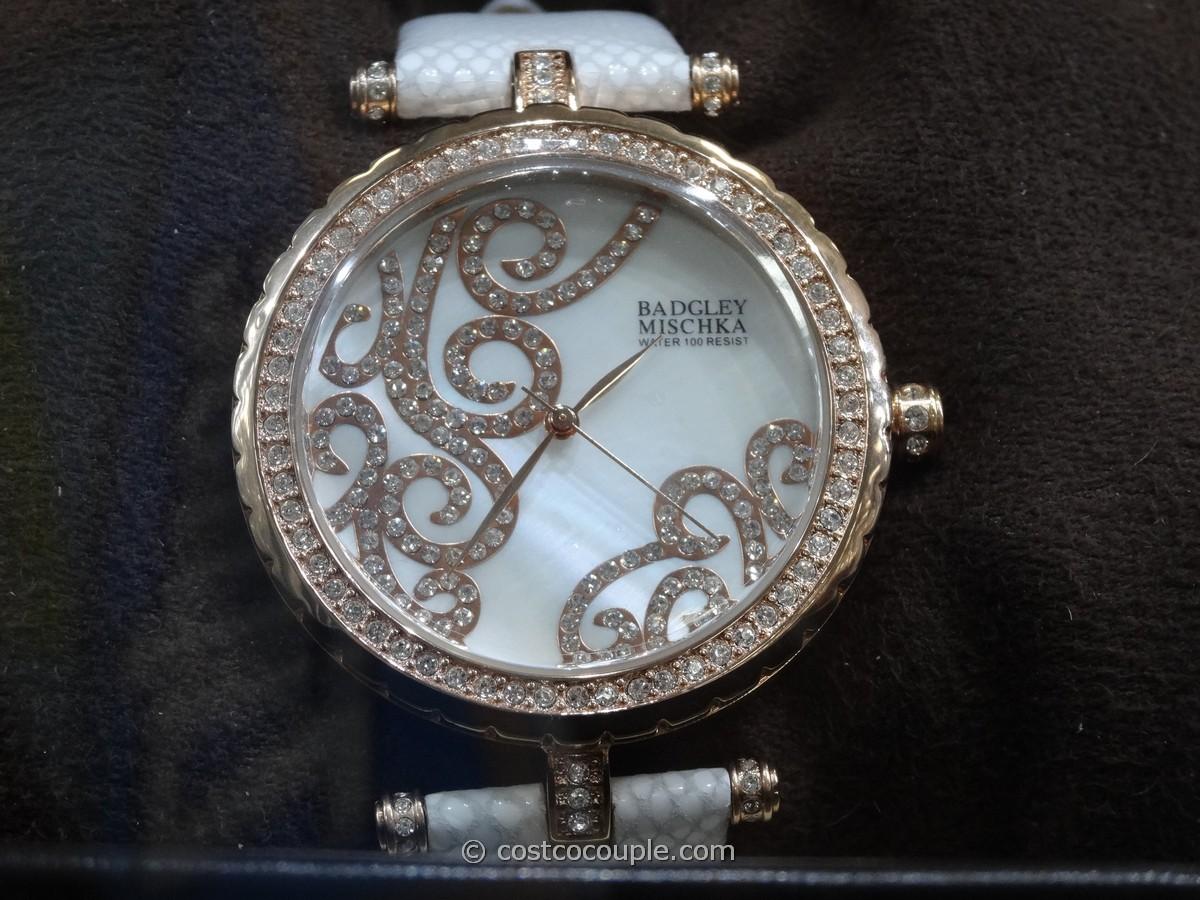 Badgley Mischka Women's Swarovski Crystal White Leather Strap Watch Costco 4