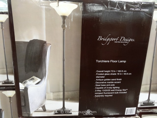 bridgeport designs torchiere floor lamp with marble accent. Black Bedroom Furniture Sets. Home Design Ideas