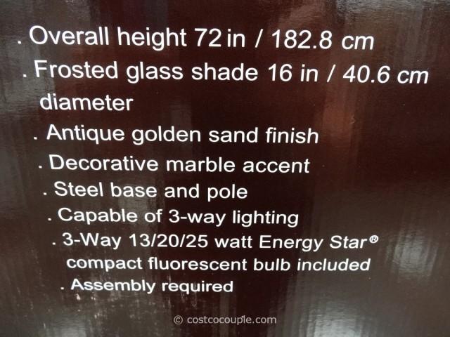 Bridgeport Designs Torchiere Floor Lamp with Marble Accent Costco