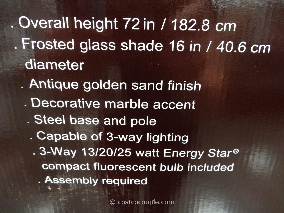 Bridgeport Designs Torchiere Floor Lamp With Marble Accent