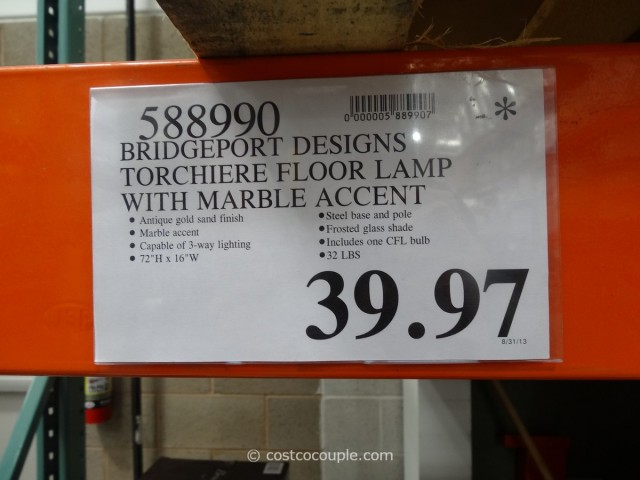 Bridgeport Designs Torchiere Floor Lamp with Marble Accent Costco