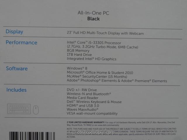 Dell All-In-One Touchscreen PC IO2330 Costco 2
