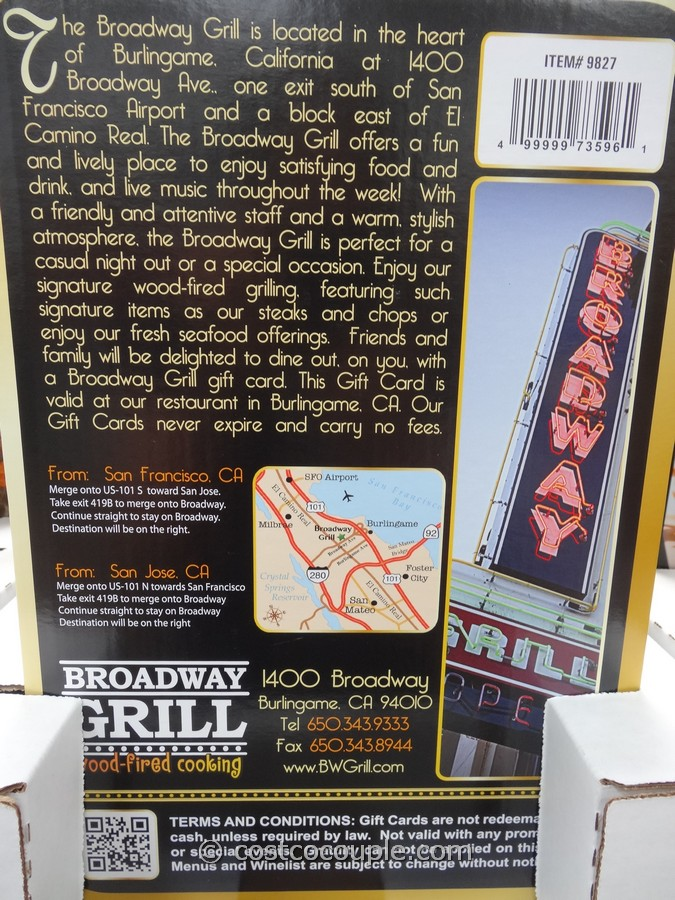 Gift Cards Broadway Grill Costco 2
