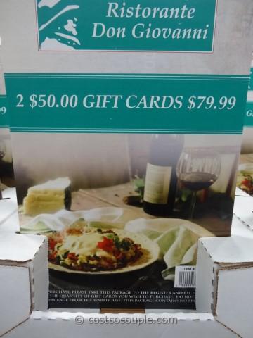 Gift Cards Don Giovanni Costco 1