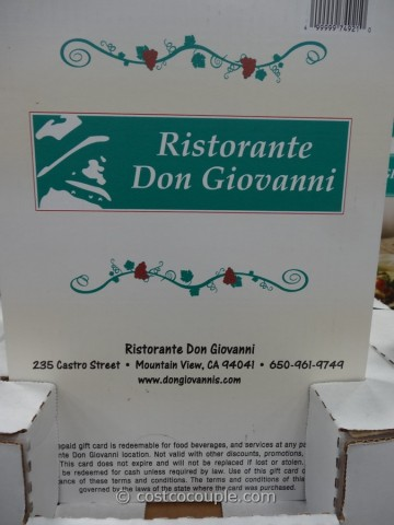Gift Cards Don Giovanni Costco 2