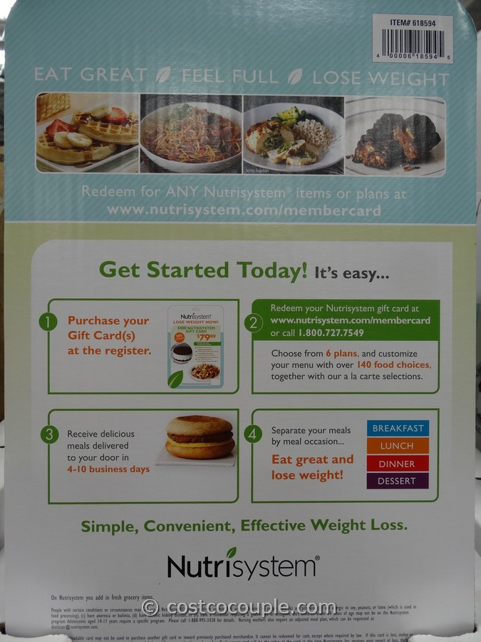 Nutrisystem Discount Gift Card